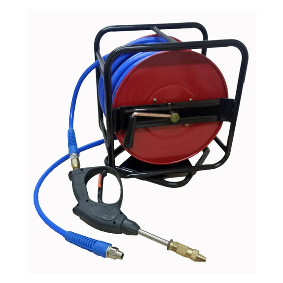 Hose Reel with 30 m Chemical Hose and Pistol Spot Spraying Weeds Manual