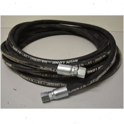 "Hydraulic Hose 3/8"" 2 Braid with 3/8"" Bsp Fittings 2 1/2 Metres"