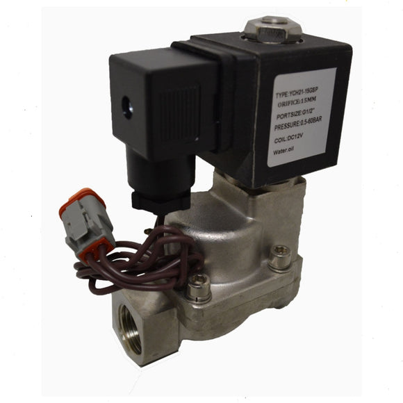 Valve Solenoid Type 12 volt 1/2 inch BSP Pressures to 870 PSI Stainless