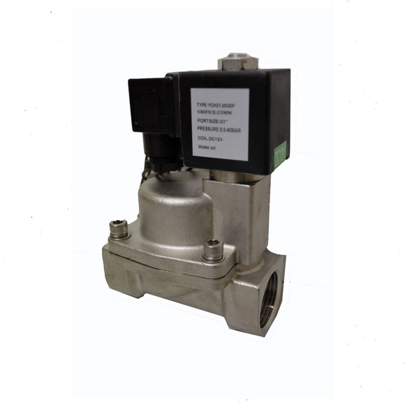 Valve Solenoid Stainless Air/Water 12 volt 1 inch BSP x 870 psi