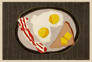 """What's For Breakfast?"" Placemats Set of Six. Approximately 18""w x 14"" h."
