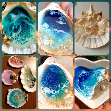 🐚🌊Resin mini ocean in a shell🐚🌊 Art class 👩‍🎨 Sunday March 7th 1pm