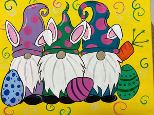 🐣🐰Happy Easter gnomes🐰🐣  💛Family friendly paint class, drinks and snacks always included!  😃Saturday April 3rd, 1pm  😊$25 per person  👍Sign up @ Www.ArtistasFernley.com