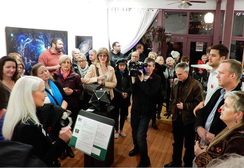 Large crowed audience at Sarazen Brooks's art show in Port Moody