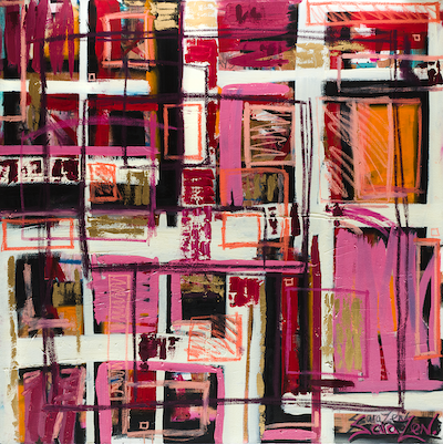 Large square abstract painting with pink, white, black and orange graffiti like strokes.
