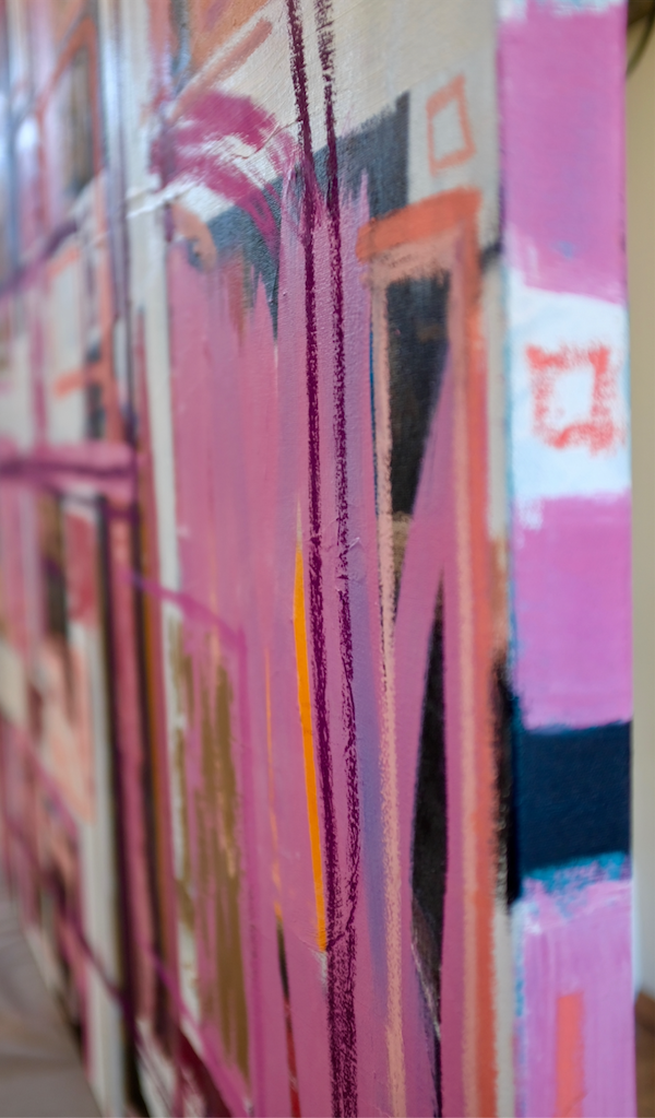 Close up of large square abstract painting with pink, white, black and orange graffiti like strokes.