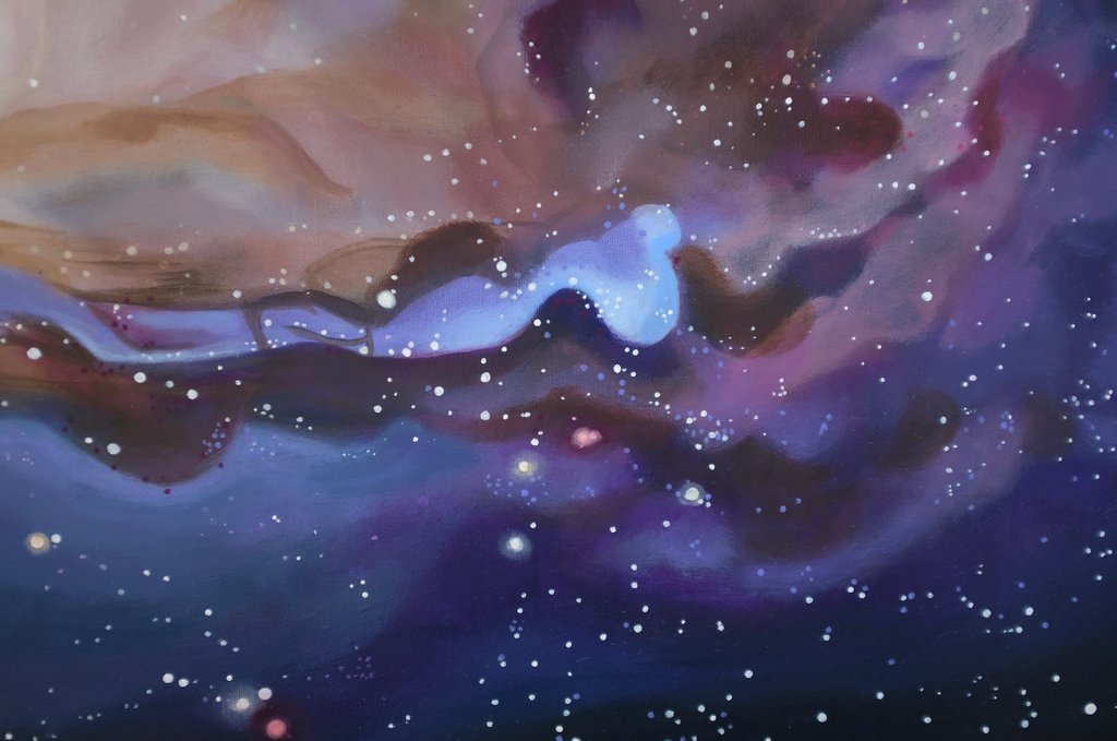 A close up of a spiral galaxy painting
