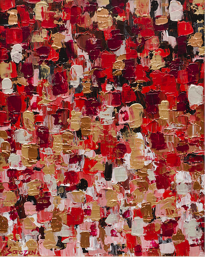 A red abstract painting with shade of red, gold, white and burgundy squares