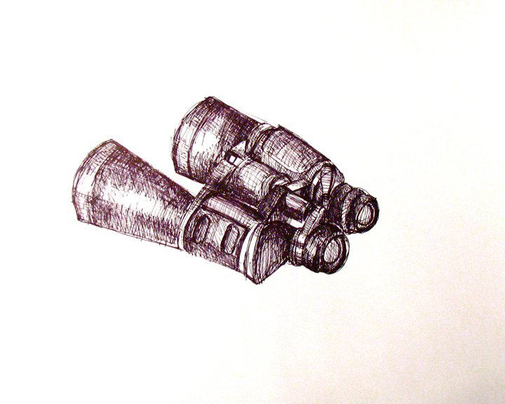 A pen and ink sketch of binoculars