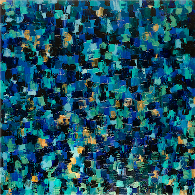 Square Blue Abstract painting with many beautiful shades of blue, turquoise and gold