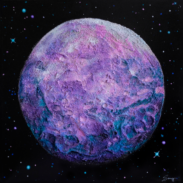 A colourful textured painting of the moon Ceres