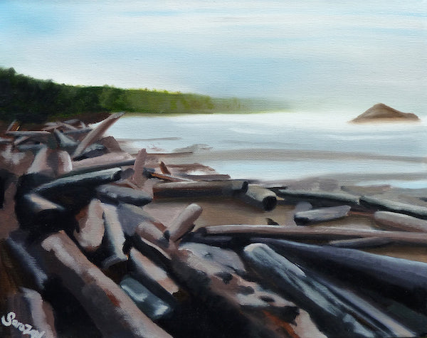 Painting of logs gathered on a shoreline