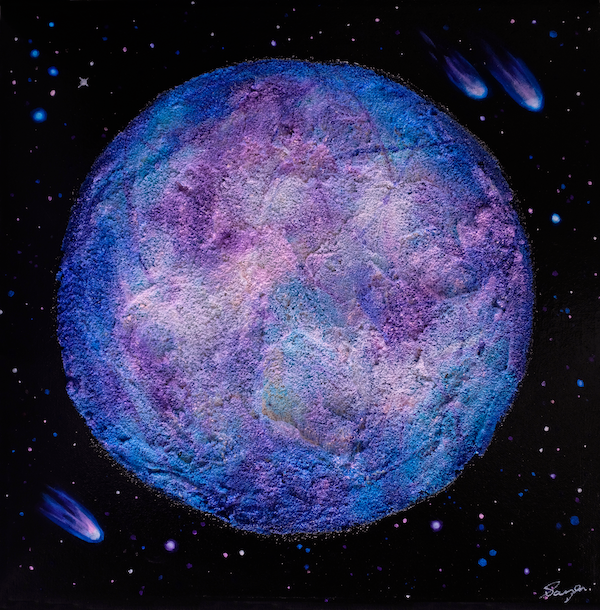 A colourful textured painting of the moon Europa