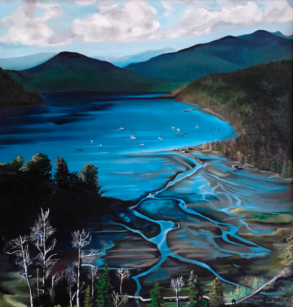 A vibrantly blue panting of Burrard inlet in Port Moody, BC