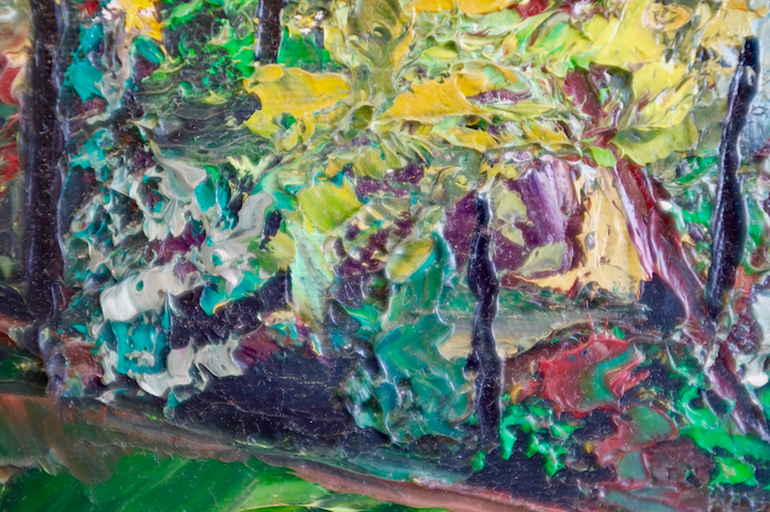 Close up of textured painting of trees