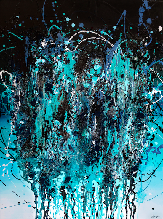 Large teal-blue abstract panting with paint pouring down