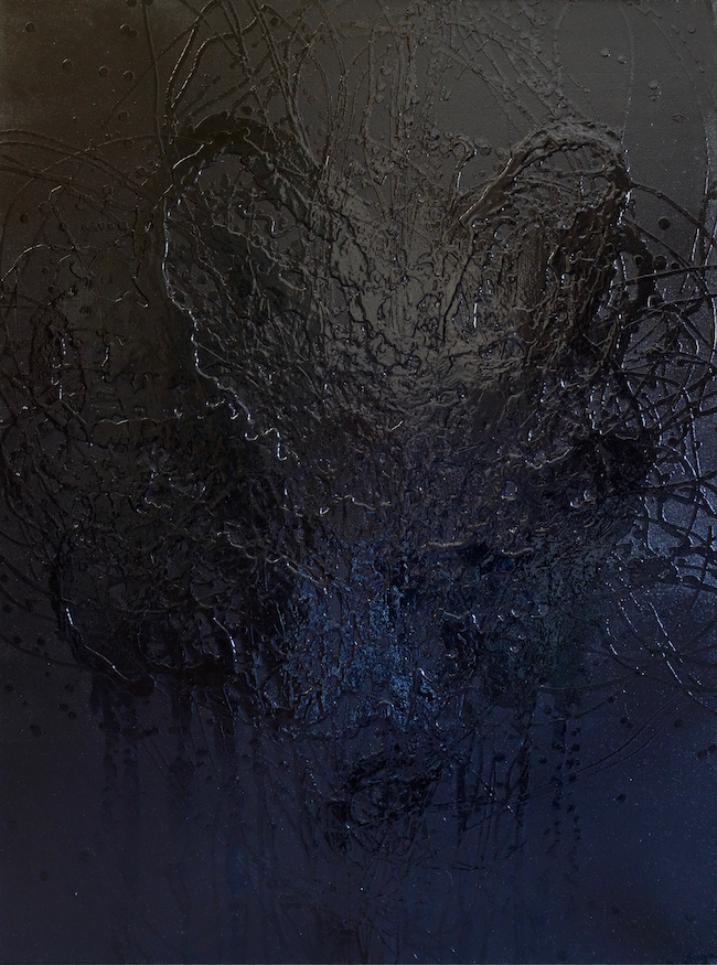 A large black textured abstract painting