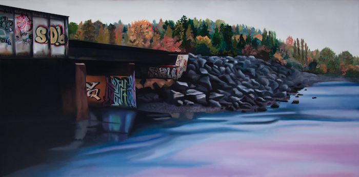 A painting of a colourful ocean meeting a bridge covered in graffiti