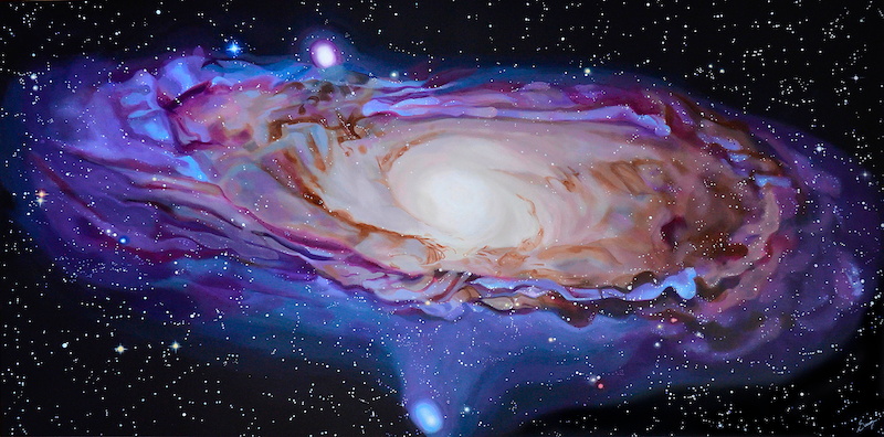 A vibrantly glowing violet painting of a spiral galaxy