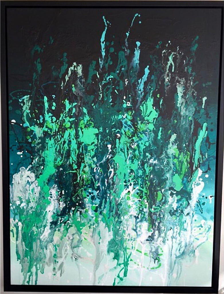 Large green abstract painting with paint pouring down