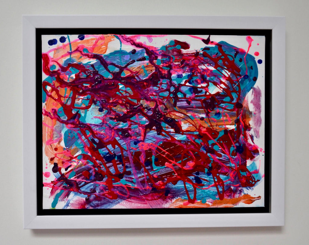 A vibrantly colourful abstract painting full of magenta, blue and orange