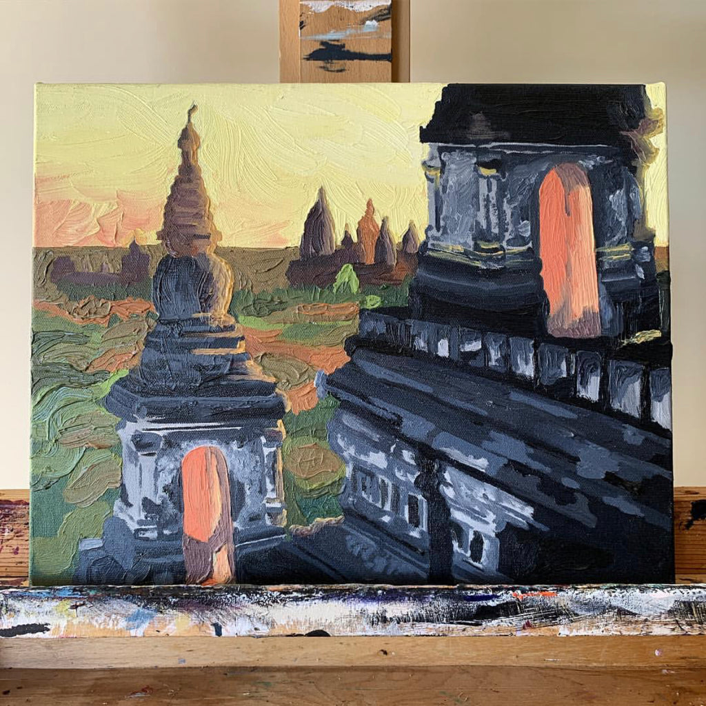 Painting of Indonesian temples with a sunset