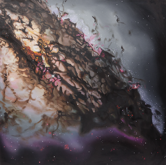Painting of a beautiful nebulous galaxy with grey, brown, pink and violet
