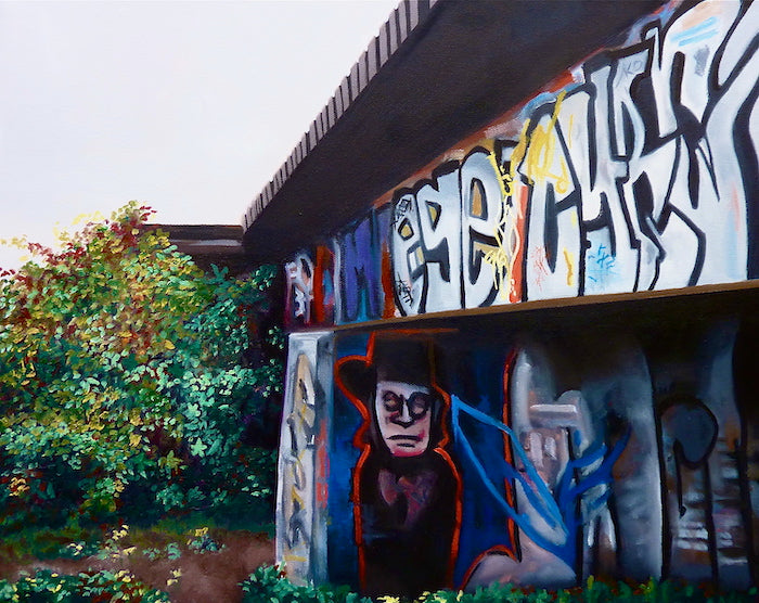 Painting of a train track with colourful graffiti