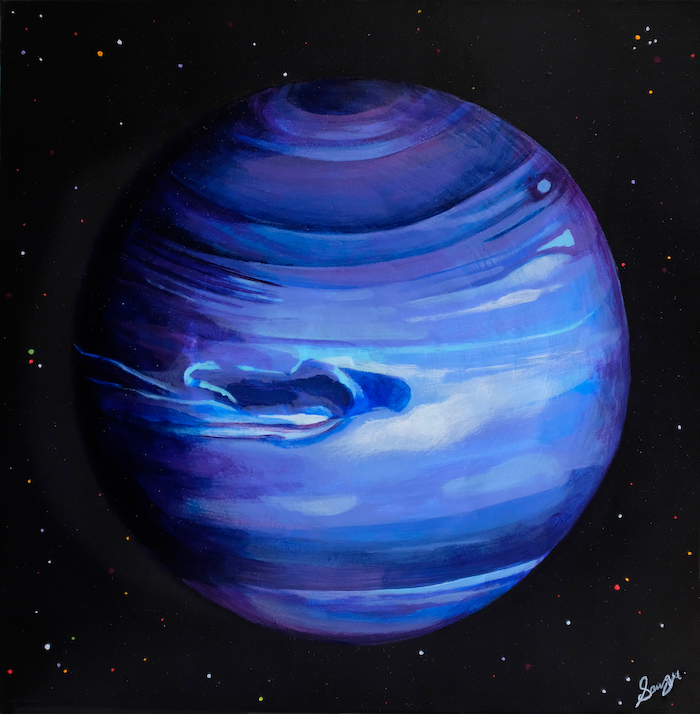 A painting of the planet Neptune