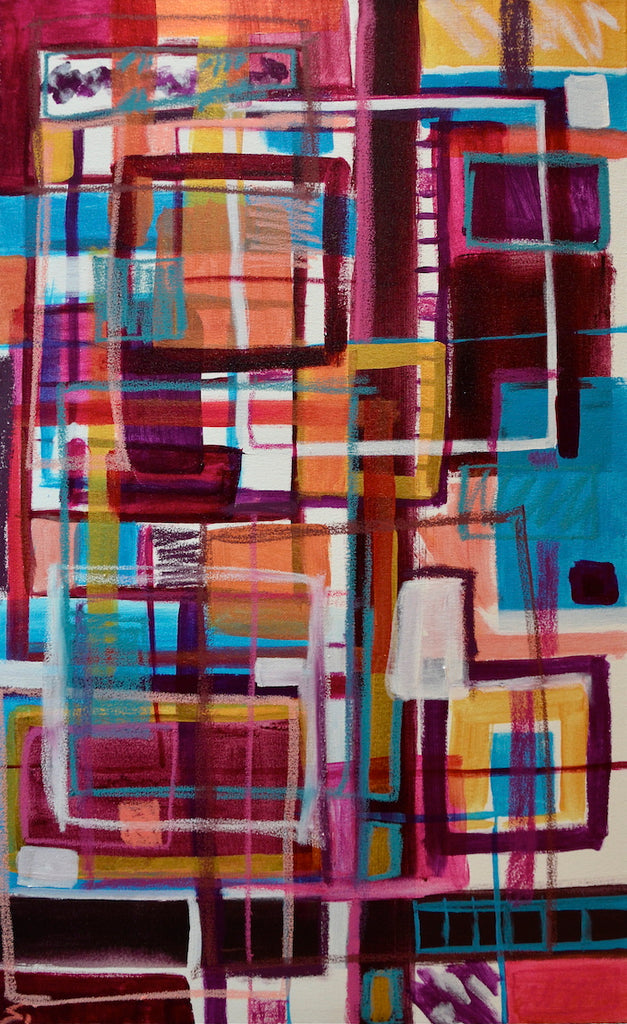 Abstract painting of magenta, light blue and golden squares