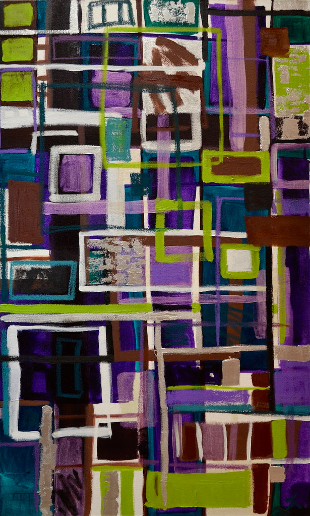Abstract painting with loose lines and neon green, purple and white, black and brown accents
