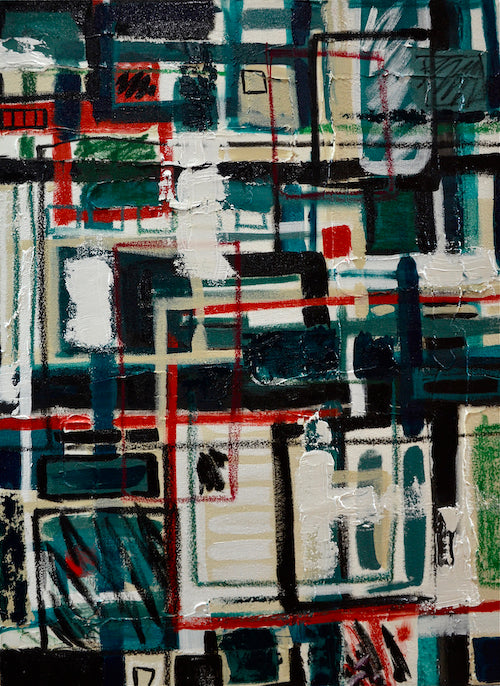 Abstract painting with loose lines and white, black, red and dark green accents