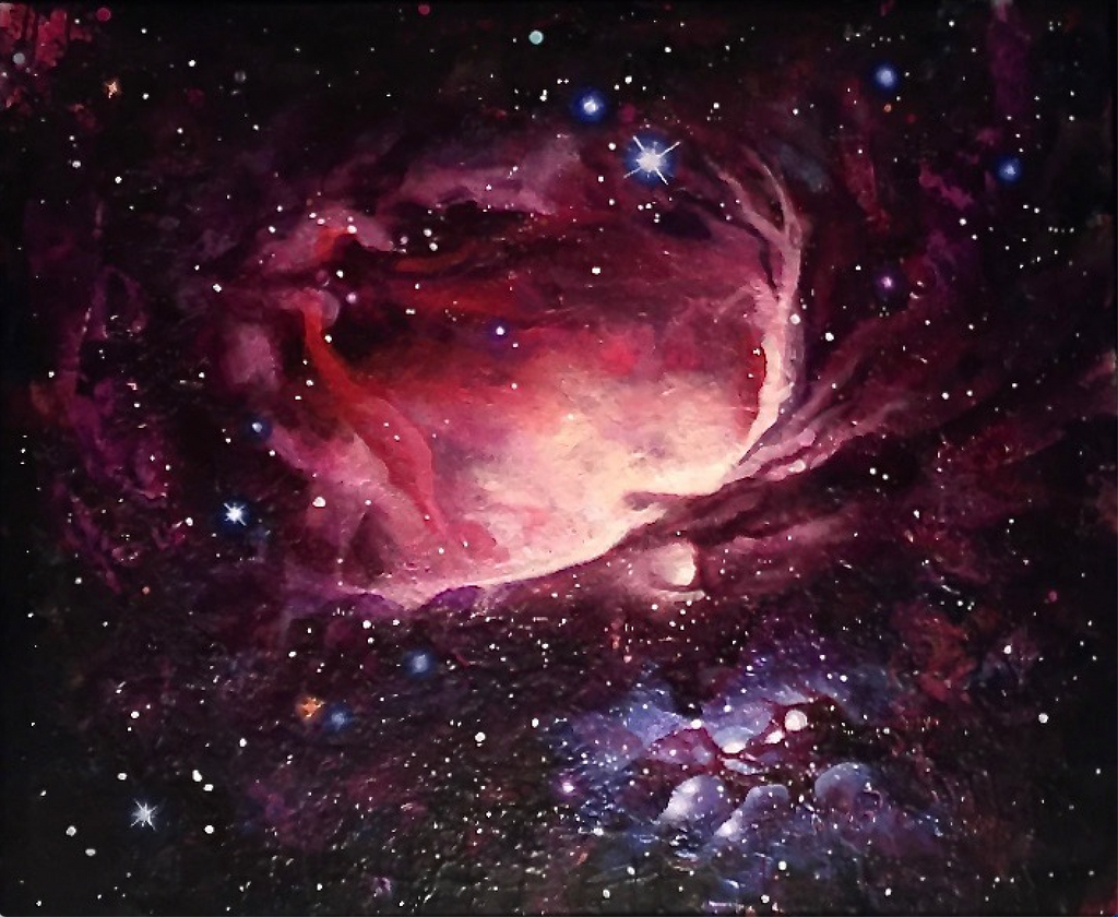 A textured painting of Orion nebula