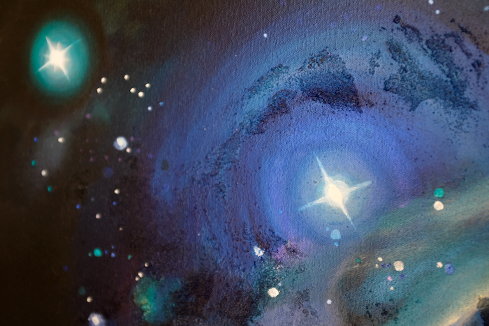 Close up of a painting of Orion nebula