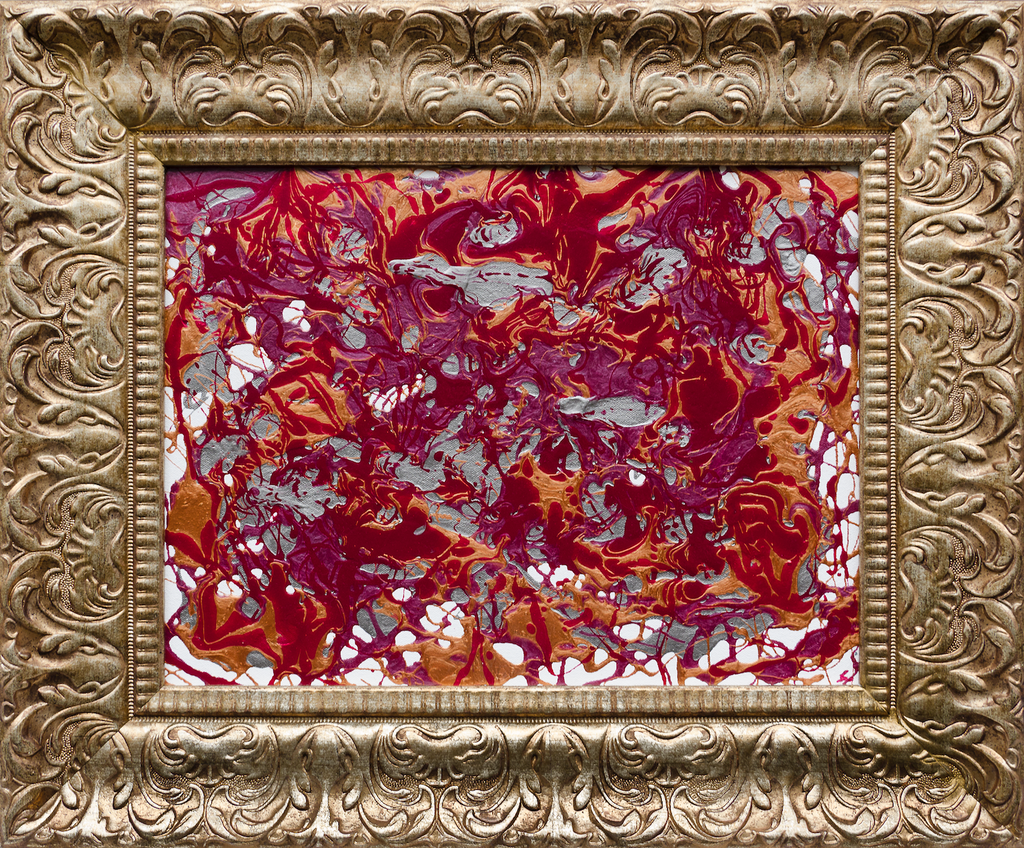 A magenta and orange abstract painting with an ornate gold frame