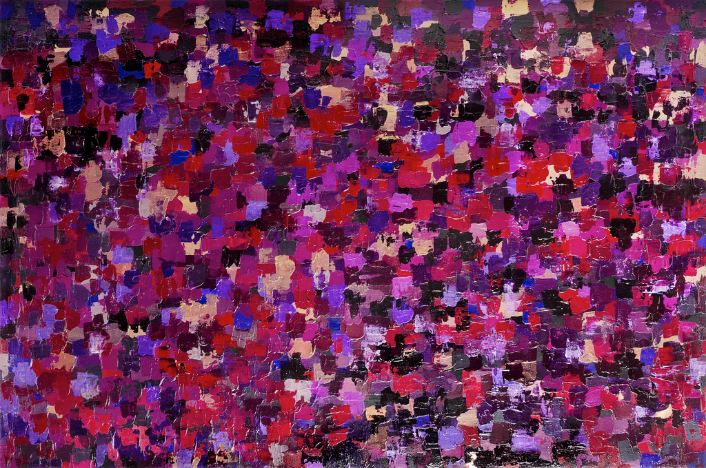 A large abstract violet painting covered in square strokes