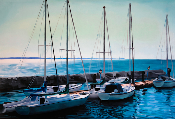 A painting of several sailboats in a marina
