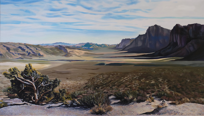 A landscape painting with imagery of the desert