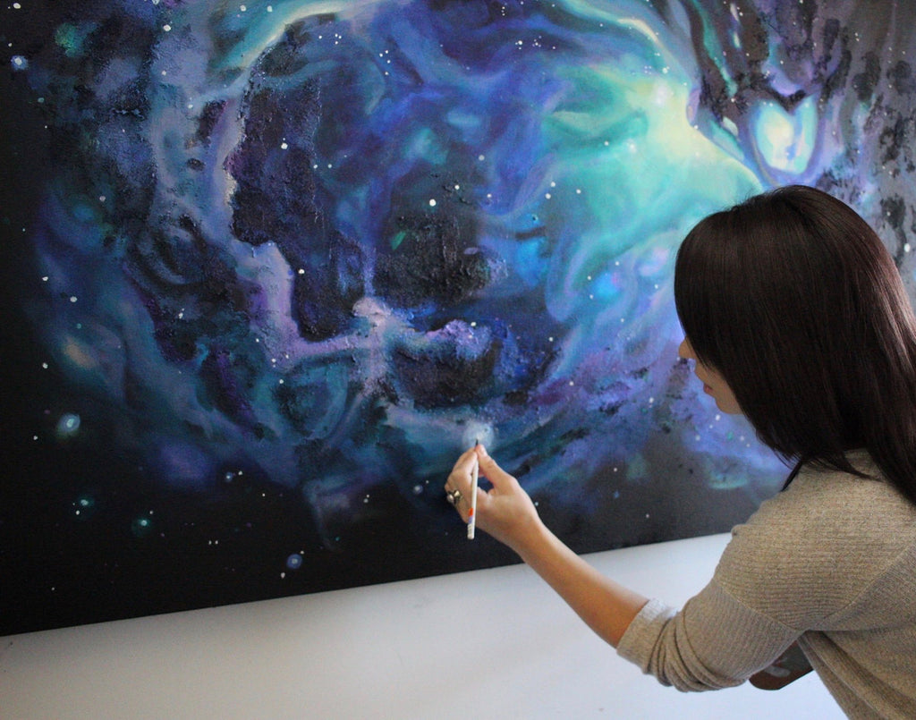 Artist Sarazen Brooks painting Orion nebula