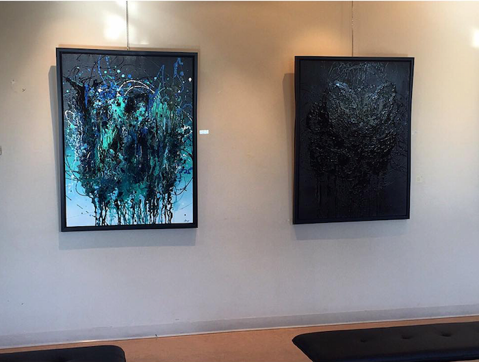 Two large abstract pantings, teal and black