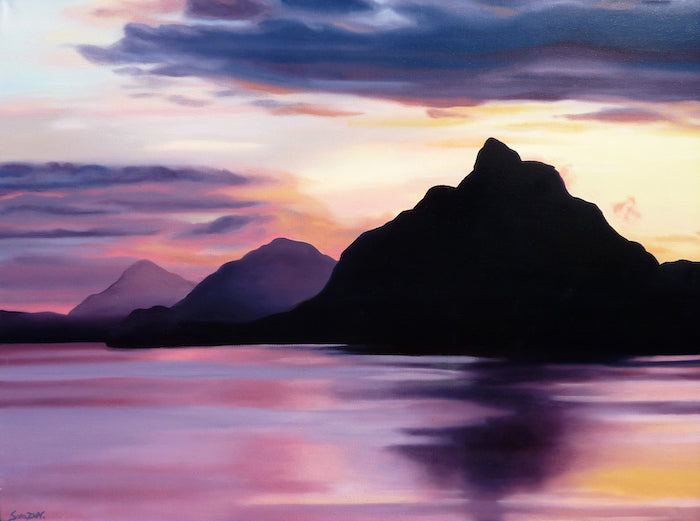 Painting of a sunset disappearing behind mountains