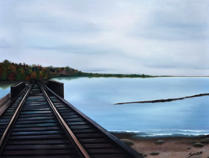 Painting of train tracks going into the distance