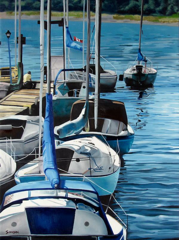 A painting of sailboats in a marina