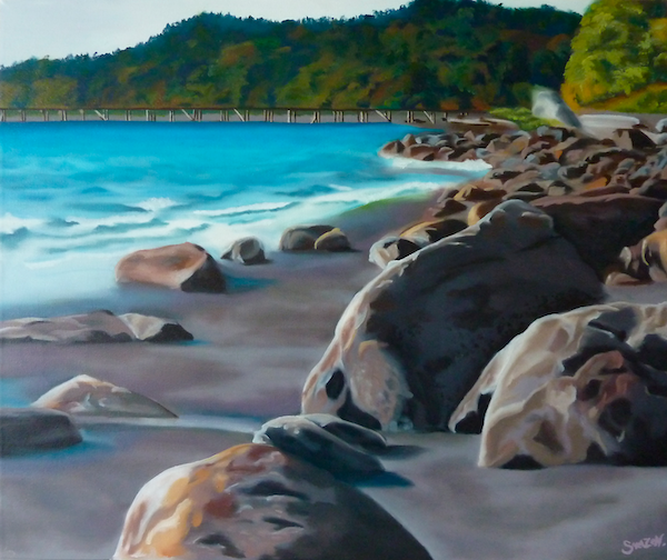 Painting of rocks along an ocean shoreline