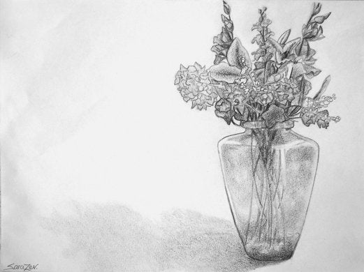 Pencil sketch of flowers in a vase