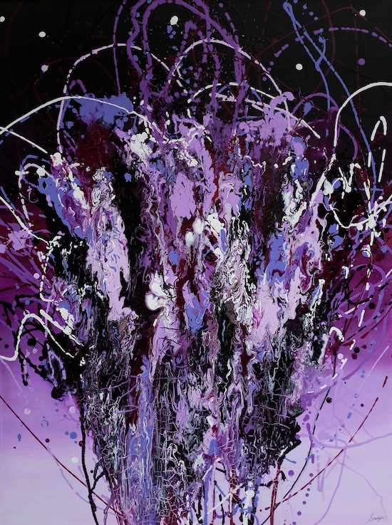 A large violet abstract painting