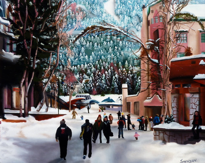 A painting of a busy winter scene in Whistler village