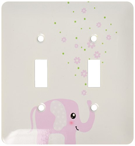 3dRose lsp_113125_2 Cute Pink Elephant Blowing Flowers From Trunk Girly Kawaii Kids Nursery Animal Baby Girl Cartoon Light Switch Cover