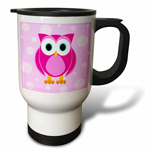 3dRose Cute Pink Owl on Light Pink Background Travel Mug, 14-Ounce