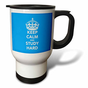 3dRose Keep Calm and Study Hard Light Blue Travel Mug, 14-Ounce